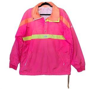 CB Sport Vintage Zip Pullover Neon Windbreaker